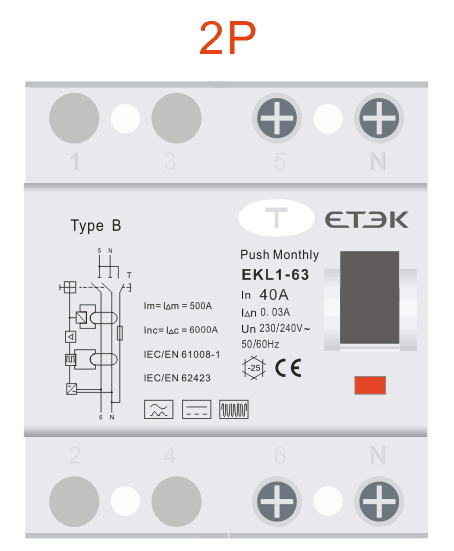 RCD TYPE B EKL1-63B-2P 230V