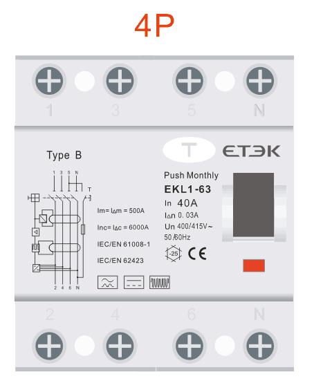 RCD TYPE B EKL1-63B 4P 400V